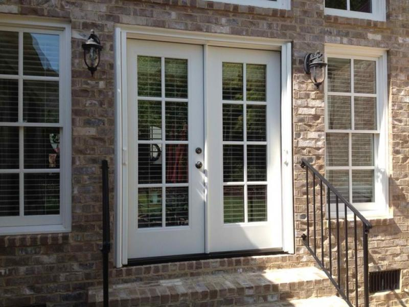 Exterior sliding glass doors at lowe 39 s for French doors with dog door lowes
