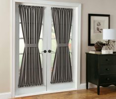 White Lowes French Doors with Dark Grey Curtain