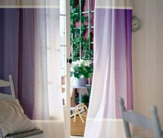 White and Purple Curtains DIY for Decorating