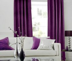 White and Purple Living room with Simple Purple Curtains for Decorating