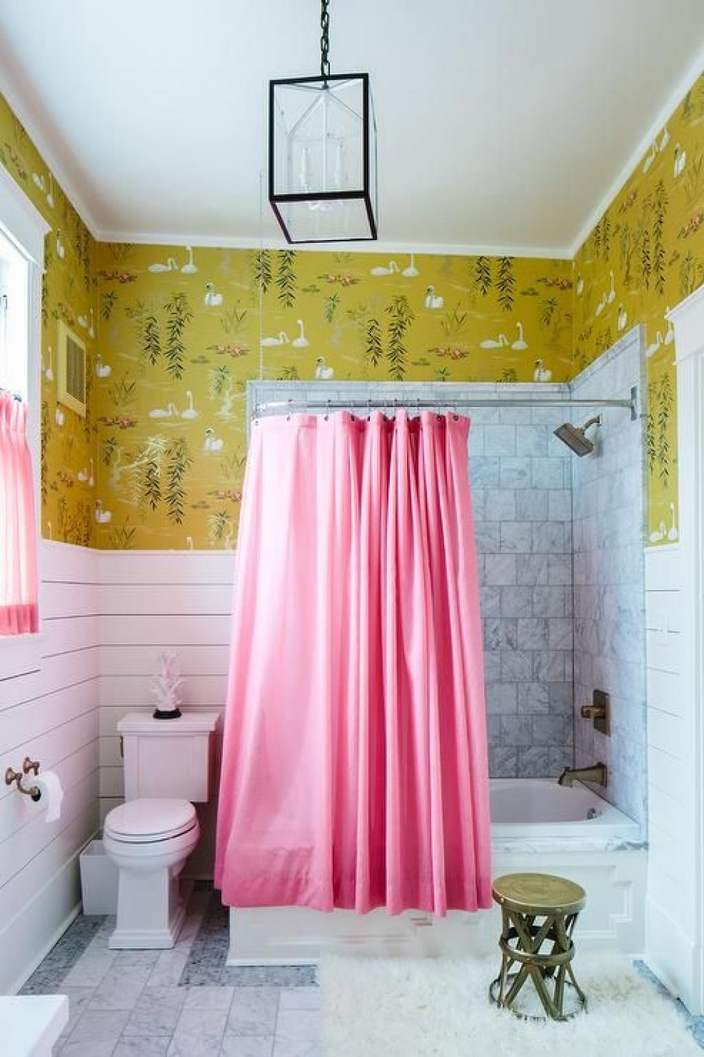 White and yellow abstract bathroom wallpaper ideas with - Red and yellow bathroom ideas ...
