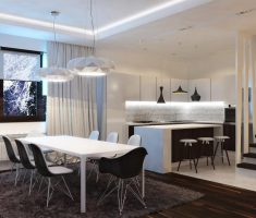 Wonderful Black and White Apartment Design and Dining room