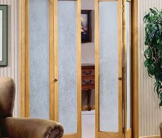 Wooden Flipped French Doors with Glass Embosed