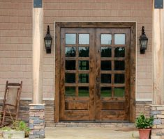 Wooden French Doors Exterior with Screen