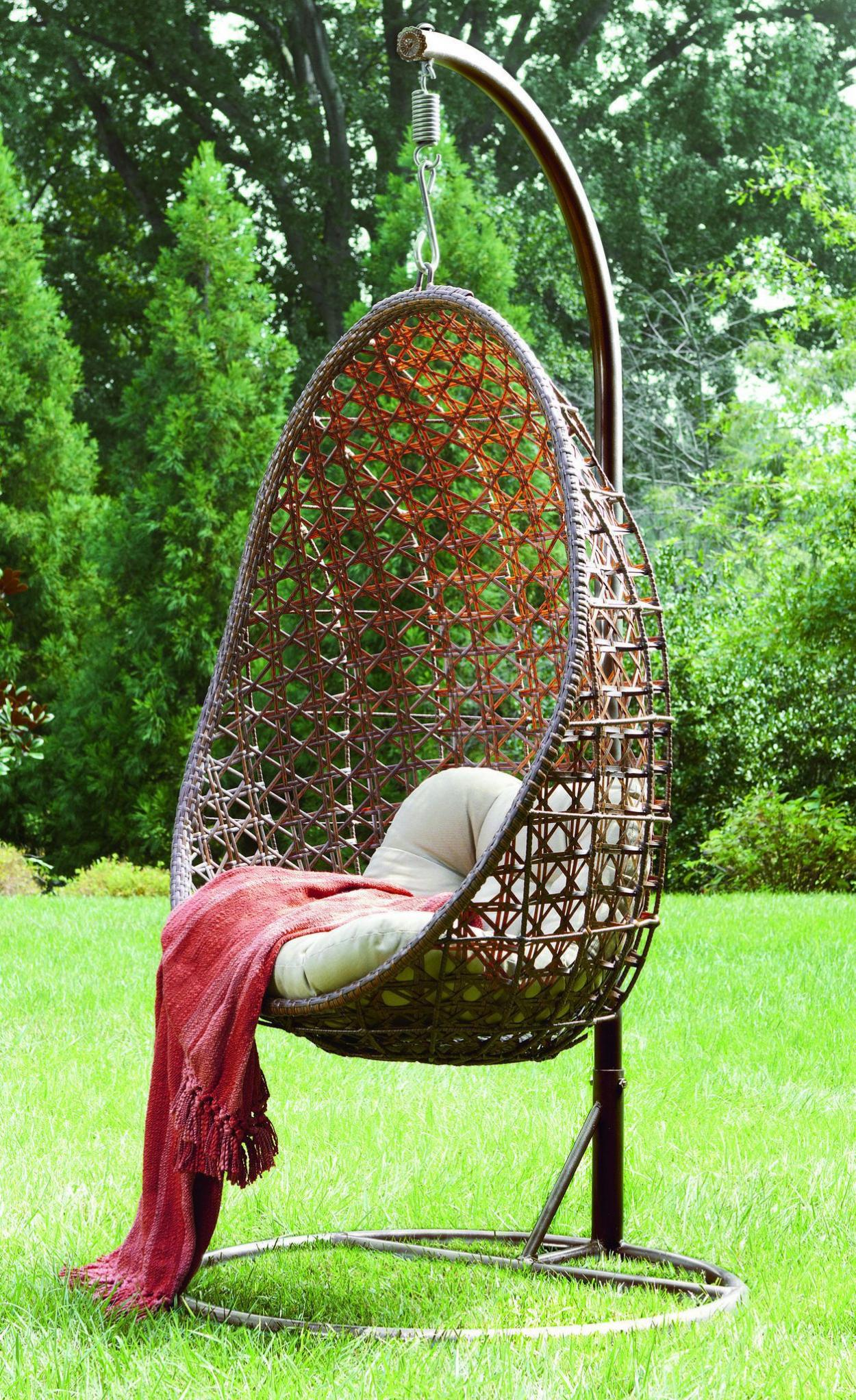 Outdoor Hanging Decor - Adorable rattan outdoor hanging ceiling chair for beauty backyard decor