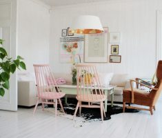 all white interior design colors theme with pink pastel chair colors