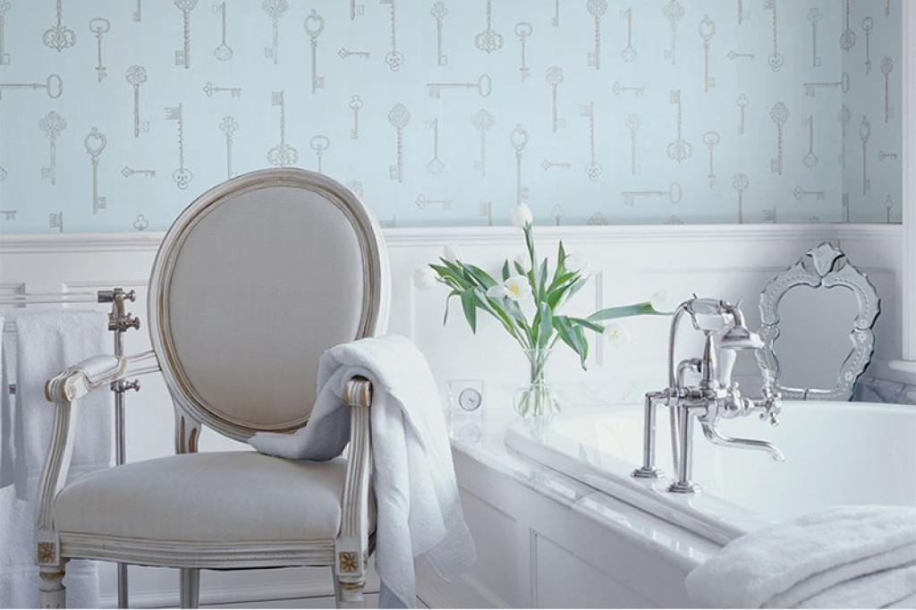 Alluring modern bathroom wallpaper ideas blue vintage keys for Modern bathroom wallpaper