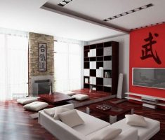 asian and japanese apartment decor red and white colors theme