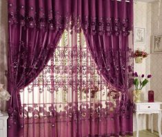 beautiful Purple Curtains for window treatment Decorating with floral embroidered