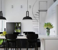 black and white for small dining and kitchen apartment decor
