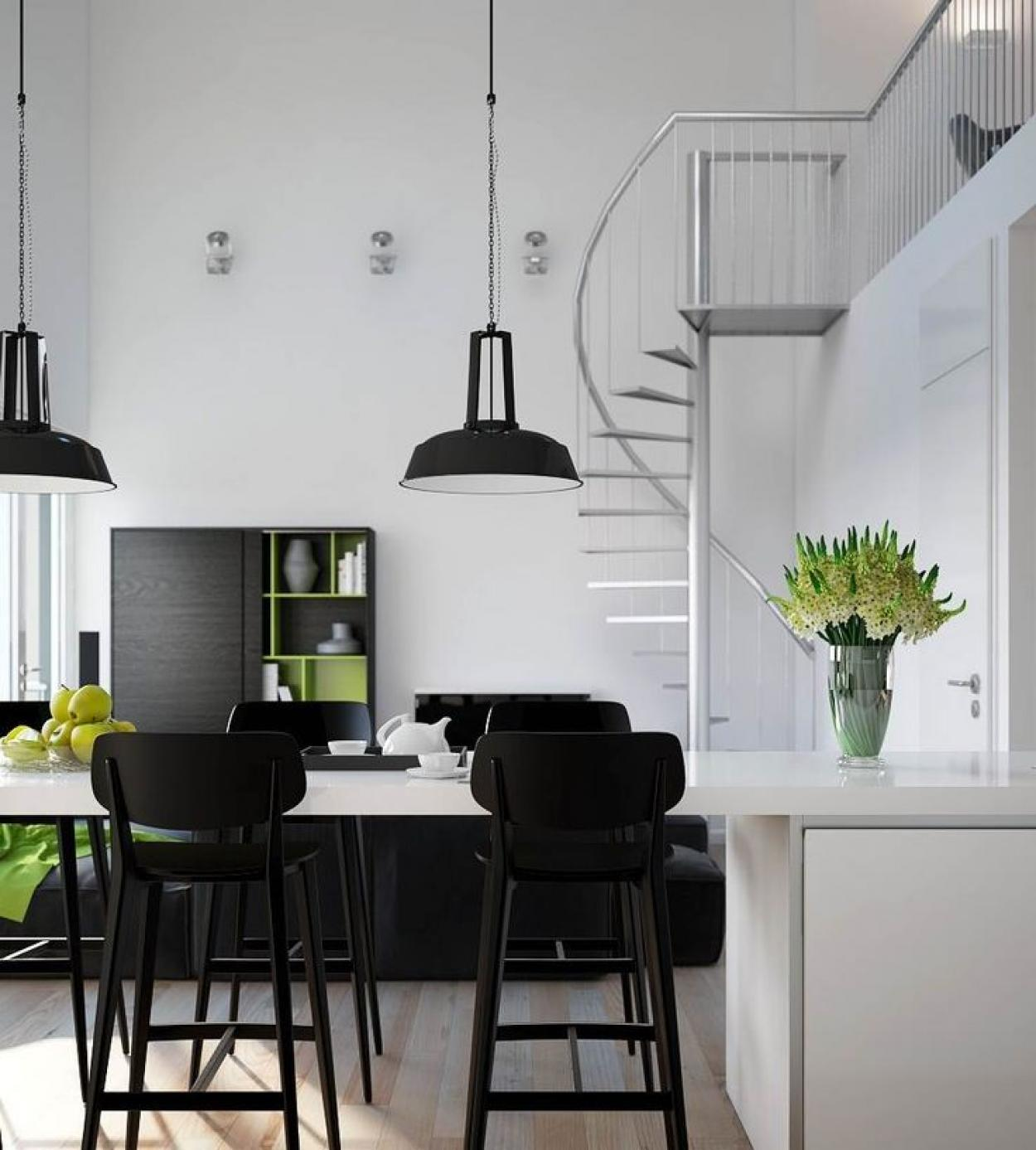 black-and-white-for-small-dining-and-kitchen-apartment-decor