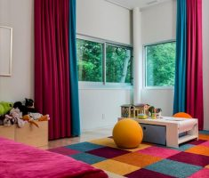 charming interior design colors theme with blue and red curtain for modern colors interior design