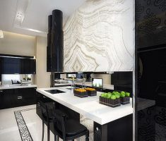 cool Black and White Apartment kitchen and dining table studio