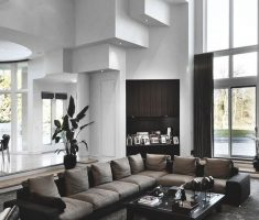 cool Luxury Living Rooms design with dark leather sofa