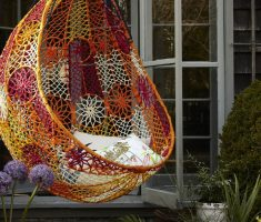 cute and creative webbing outdoor hanging ceiling chair ideas for beauty exterior home