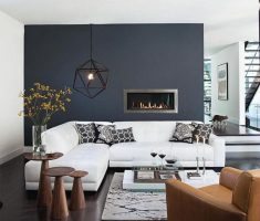 fantastic apartment decor with dark grey wall with white chusion sofa l sape and dark hardwood flooring