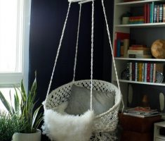 indoor diy corner ceiling hanging chair with round circular basket