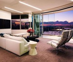 lexurious apartment decorating ideas with glass wall and led ceiling lamp