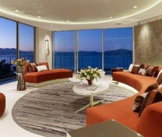 luxury apartment living rooms with orange sofa set