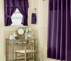 simple DIY Purple Curtains for Bathroom remodelling Decorating