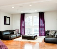 simple Purple Curtains for Livingroom Decorating with Black Leather Sofa