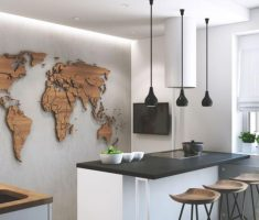 small modern kitchen apartment decor with map atlas wall decor