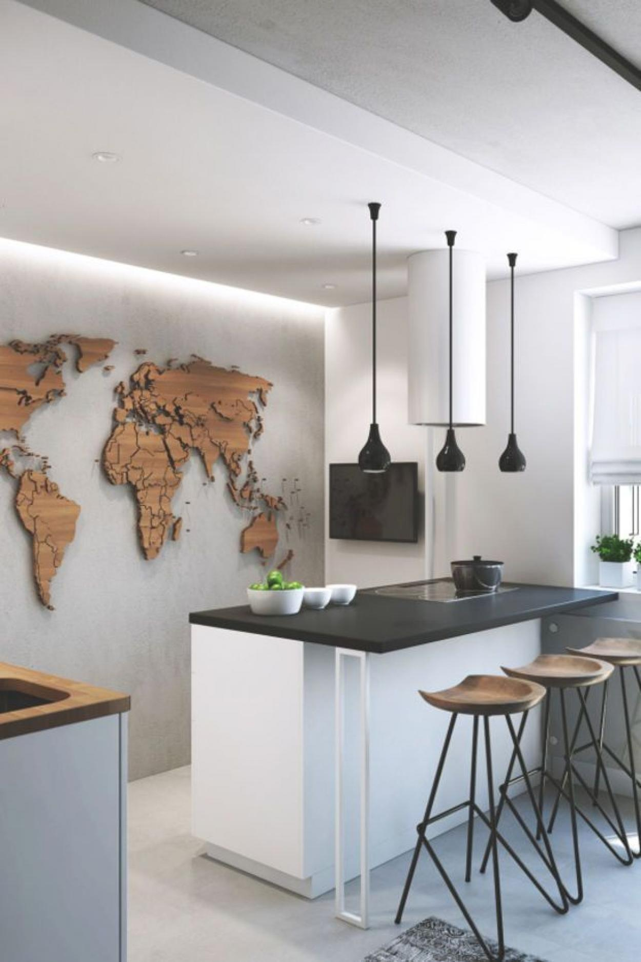 small-modern-kitchen-apartment-decor-with-map-atlas-wall-decor