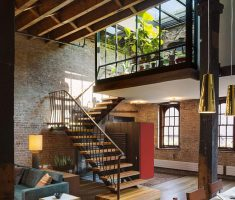 stunning apartment decorating ideas with stairs and slooping roof