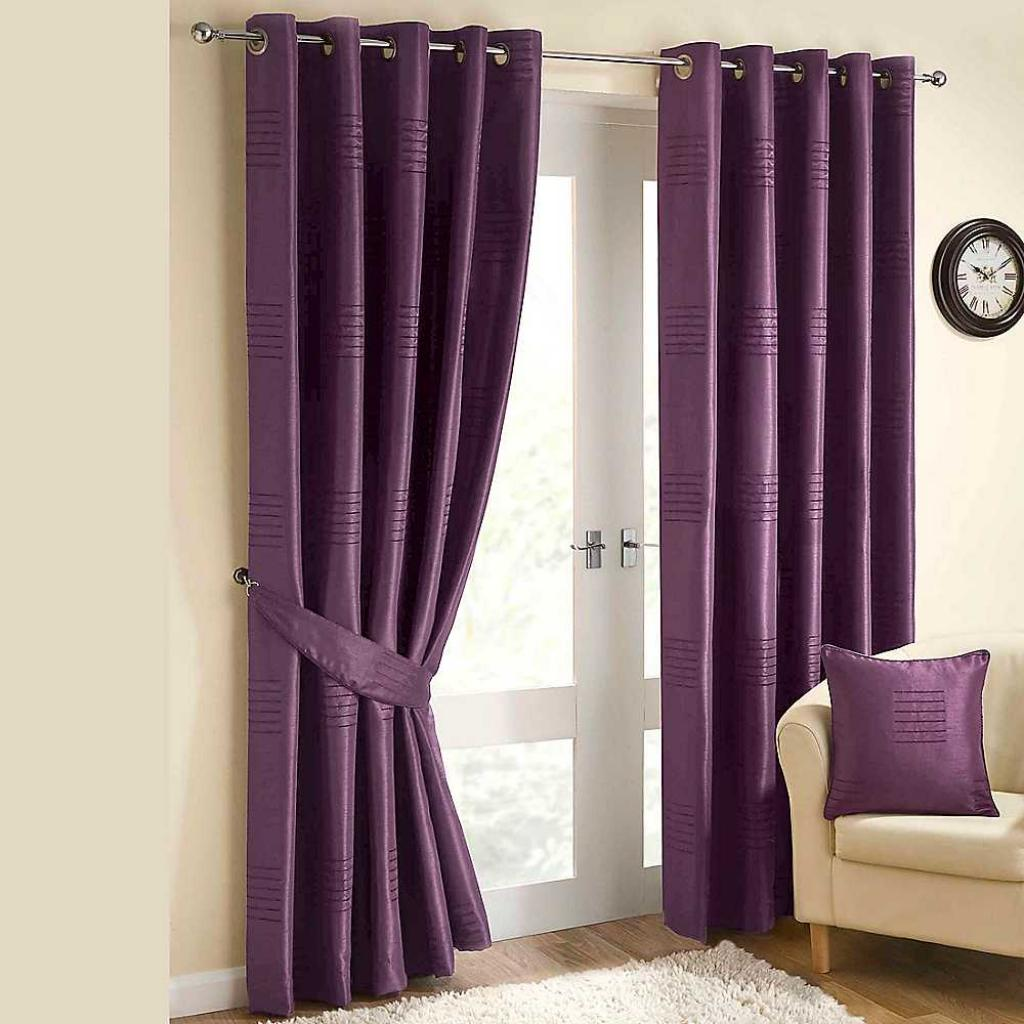 Living Room Interior Thick And Solid Purple Curtains For Decorating