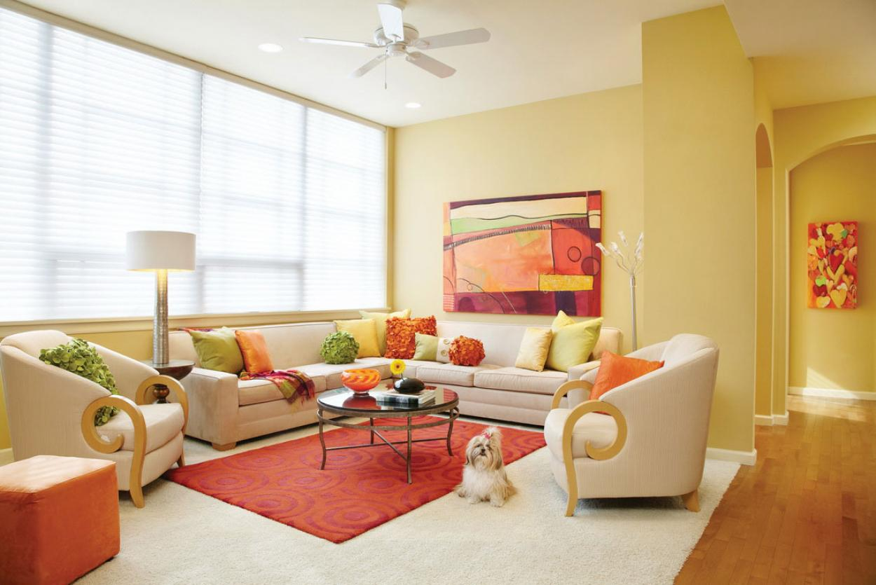 warm and pastel living room colors theme for popular interior