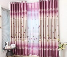 wonderful Purple Curtains combine white and pink color for Decorating