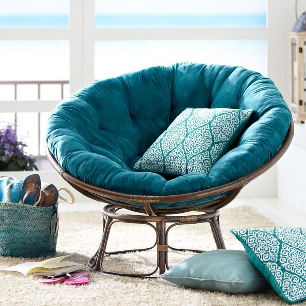 Adorable Blue Papasan Reading Chair with Rattan
