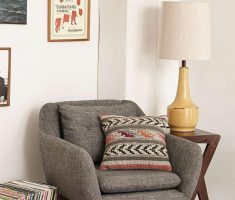 Adorable Grey Corner Reading Chair