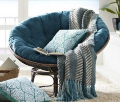 Amusing Blue Papasan Reading Chair with Ergonomic Patter Pillow