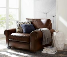 Big Brown Leather Reading Chair with Trendy Coffe Table