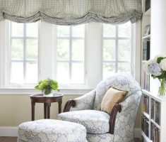 Classic Corner Reading Chair with Otoman and DIY Curtain Window Treatment