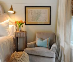 Classic Grey Corner Reading Chair on Bedroom
