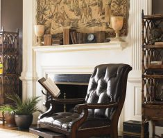 Classic Wooden Black Tufted Leather Reading Chair