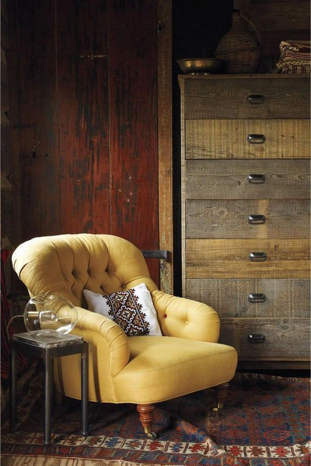 Classic Yellow Tufted Reading Chair with Vintage Room