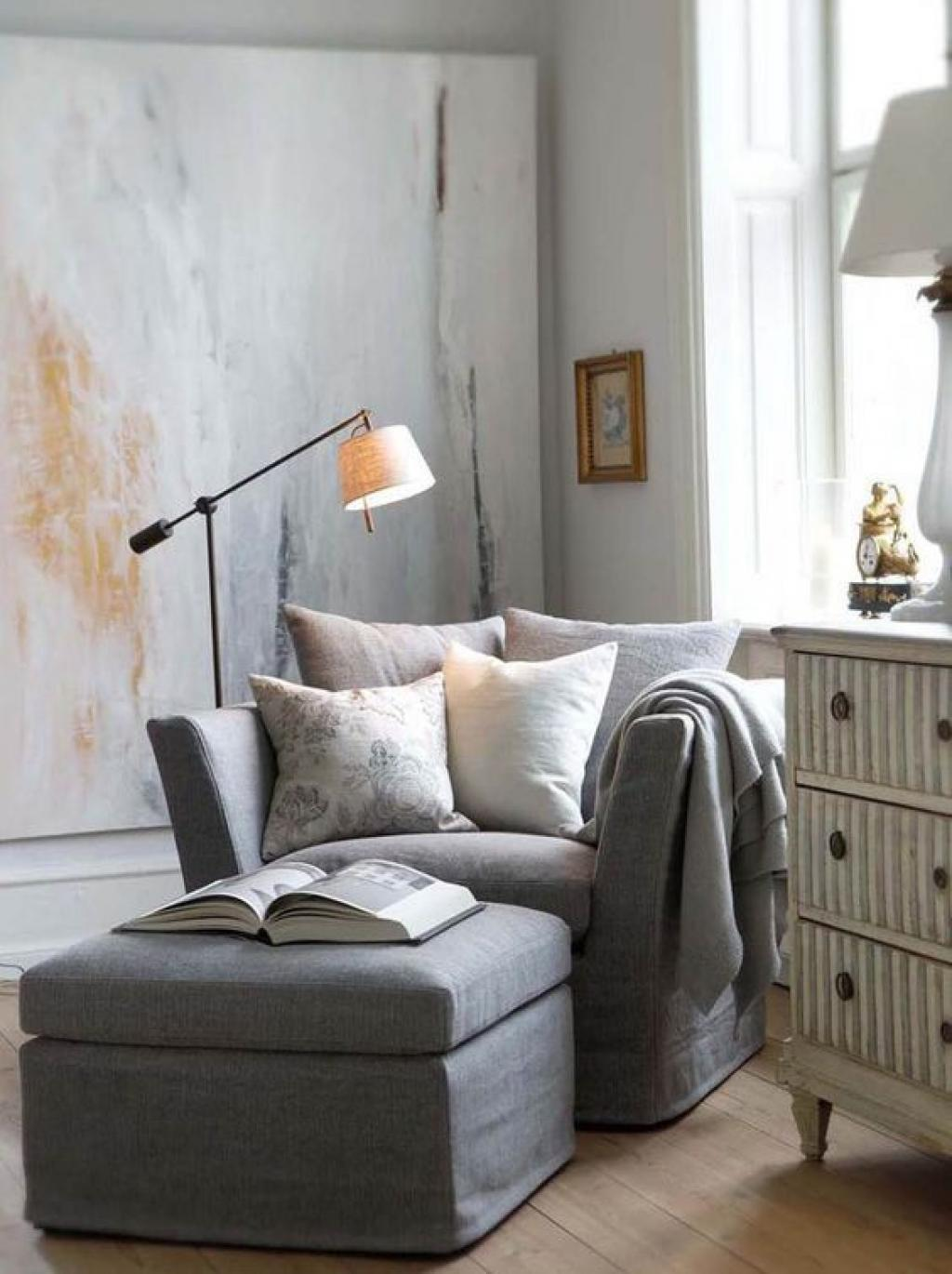 Comfy Grey Reading Chair with ottoman