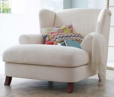 Comfy White Reading Chair Couch with Arms