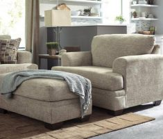 Cozy Grey Reading Chair with Arm and Ottoman