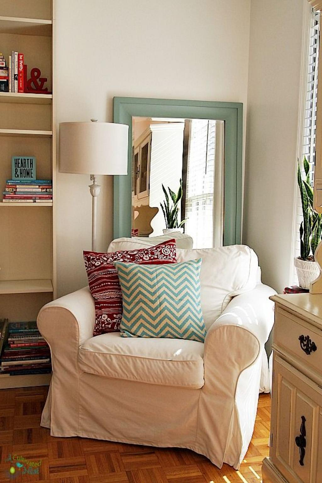 Cozy White Corner Reading Chair Couch with Arm