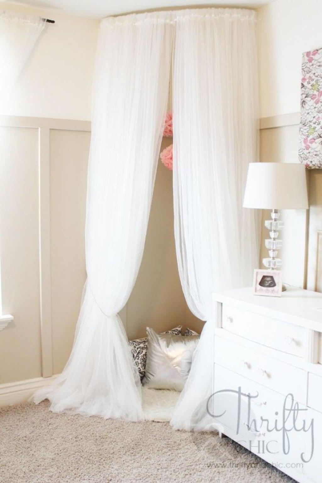 Creative Corner Reading Chair with White Curtain for Creative DIY Reading Corner Place