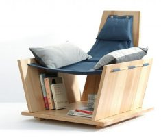 Creative Wooden Reading Chair with Bookshelf