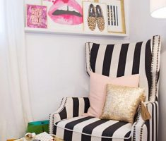 Cute Back and White Stripped corner Reading Chair Design for Small Reading Room