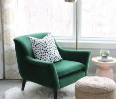 Cute Green Reading Chair with Chrome Floor Lamp and Small Egg Ottoman