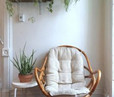 Cute Rattan Reading Chair with Naturan Pot Plant