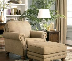 Darik Ivory Reading Chair with Ottoman