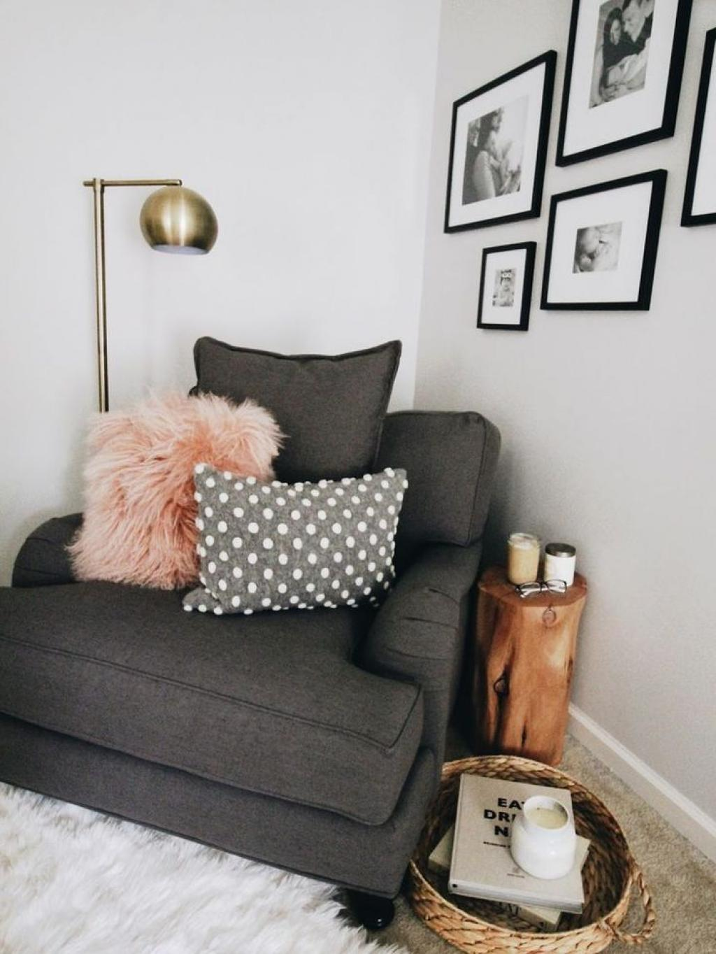 Dark Grey Corner Reading Chair for Black and White Room Theme